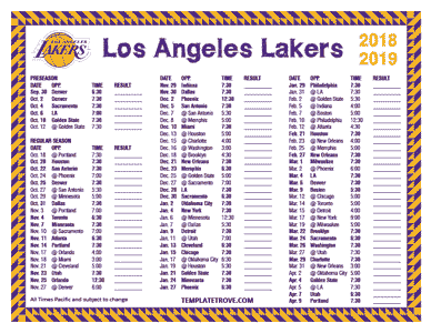 Los Angeles Lakers 2018-19 Printable Schedule - Pacific Times