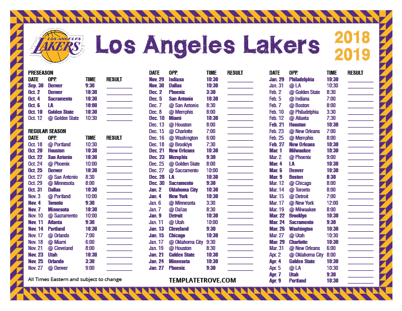 picture relating to Lakers Printable Schedule named Printable 2018-2019 Los Angeles Lakers Agenda