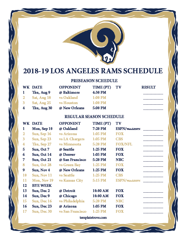 Printable 2018-2019 Los Angeles Rams Schedule