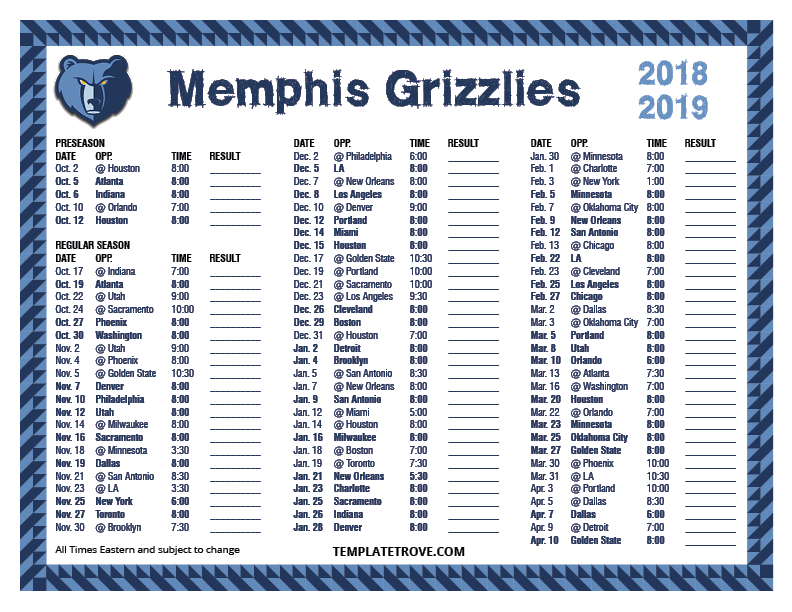 photograph relating to San Antonio Spurs Schedule Printable named Printable 2018-2019 Memphis Grizzlies Program