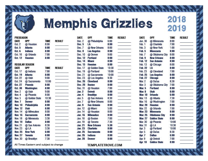 Printable 2018-2019 Memphis Grizzlies Schedule