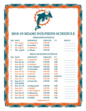 Miami Dolphins 2018-19 Printable Schedule