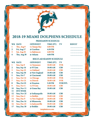 Miami Dolphins 2018-19 Printable Schedule - Pacific Times