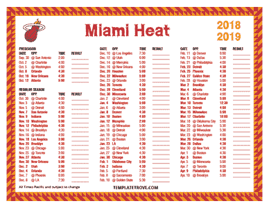 Miami Heat 2018-19 Printable Schedule - Pacific Times