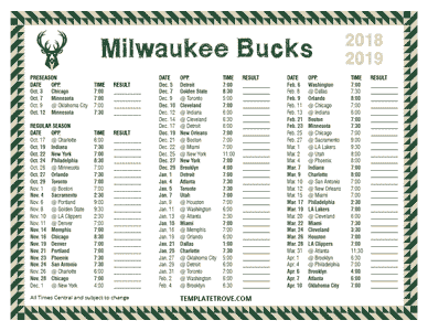 2018-19 Printable Milwaukee Bucks Schedule - Central Times