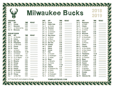 Milwaukee Bucks 2018-19 Printable Schedule - Pacific Times
