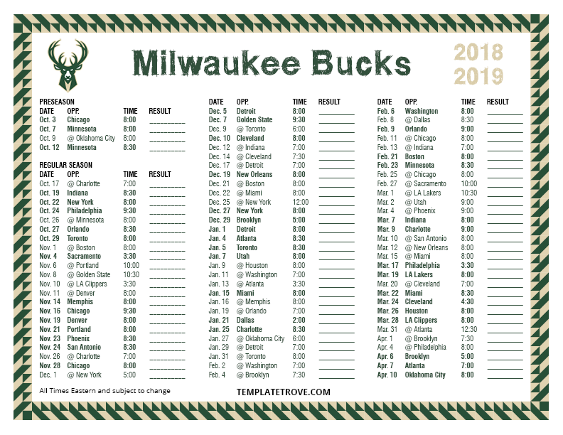 image regarding Chicago Bulls Schedule Printable called Printable 2018-2019 Milwaukee Dollars Routine