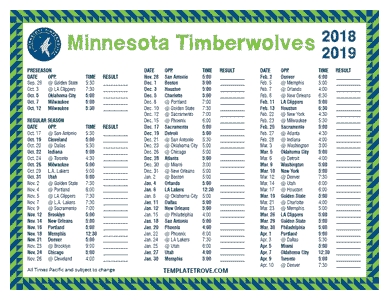 Minnesota Timberwolves 2018-19 Printable Schedule - Pacific Times