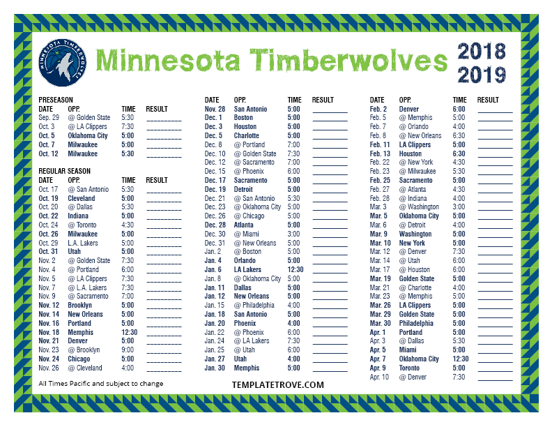 graphic about Okc Thunder Printable Schedule named Printable 2018-2019 Minnesota Timberwolves Program