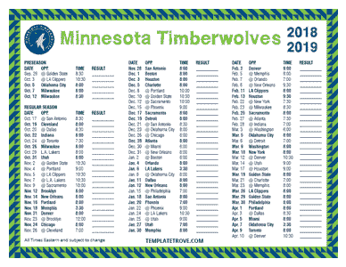 Minnesota Timberwolves 2018-19 Printable Schedule