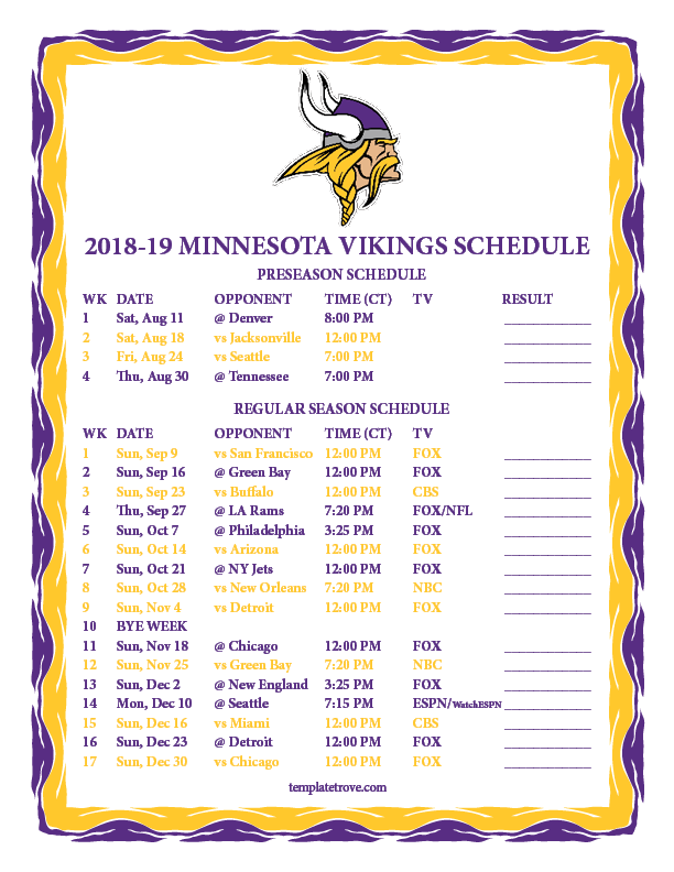Vikings Schedule 2019 Preseason Printable 2018 2019 Minnesota Vikings Schedule
