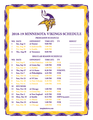 Minnesota Vikings 2018-19 Printable Schedule