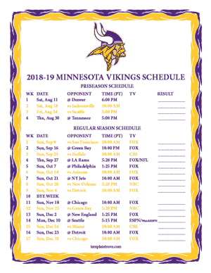 Minnesota Vikings 2018-19 Printable Schedule - Pacific Times