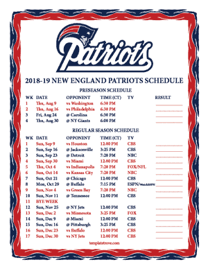 New England Patriots 2018-19 Printable Schedule - Central Times