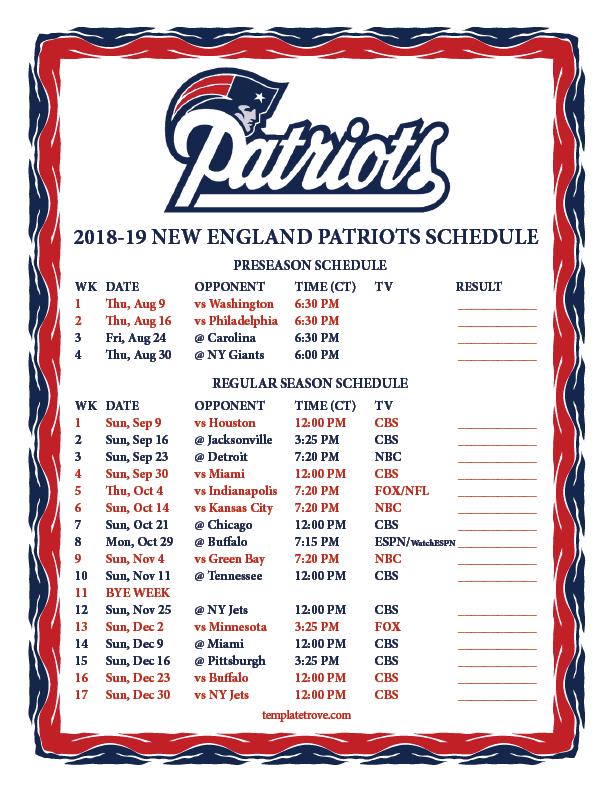 image about Nfl Week 6 Printable Schedule known as Printable 2018-2019 Refreshing England Patriots Plan