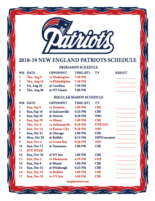 picture relating to Printable Nfl Week 2 Schedule identified as Printable 2018-2019 Fresh England Patriots Routine