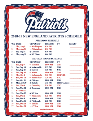New England Patriots 2018-19 Printable Schedule - Pacific Times