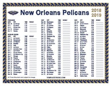 New Orleans Pelicans 2018-19 Printable Schedule - Mountain Times