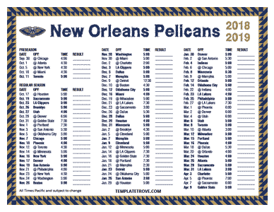 New Orleans Pelicans 2018-19 Printable Schedule - Pacific Times