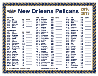 New Orleans Pelicans 2018-19 Printable Schedule