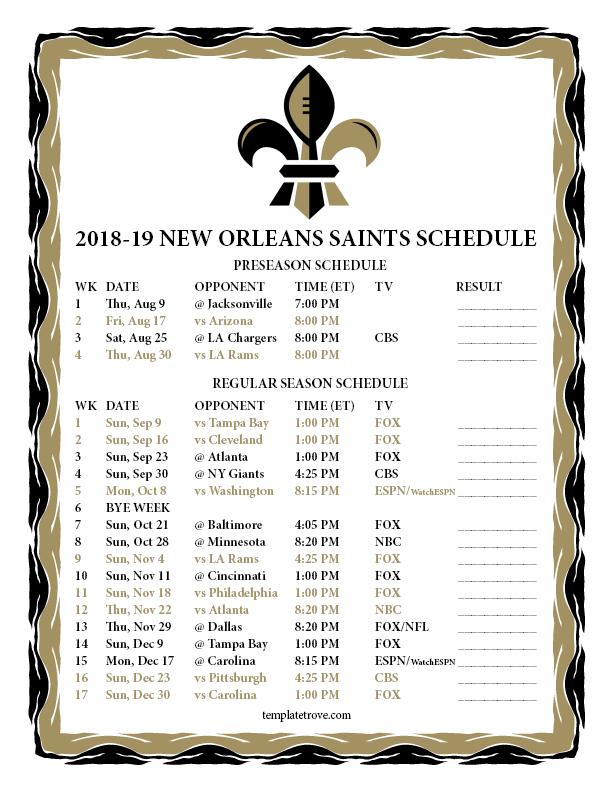 Printable 2018 2019 New Orleans Saints Schedule