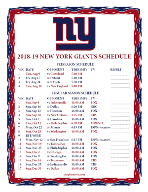 New York Giants 2018-19 Printable Schedule - Mountain Times