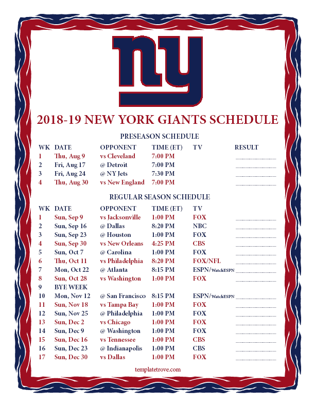 New York Giants 2019 Schedule Printable 2018 2019 New York Giants Schedule