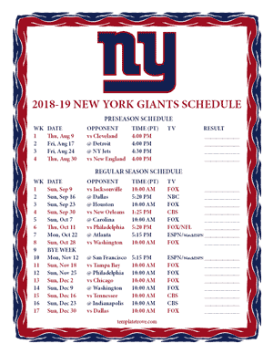New York Giants 2018-19 Printable Schedule - Pacific Times