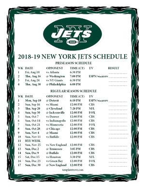 New York Jets 2018-19 Printable Schedule - Central Times