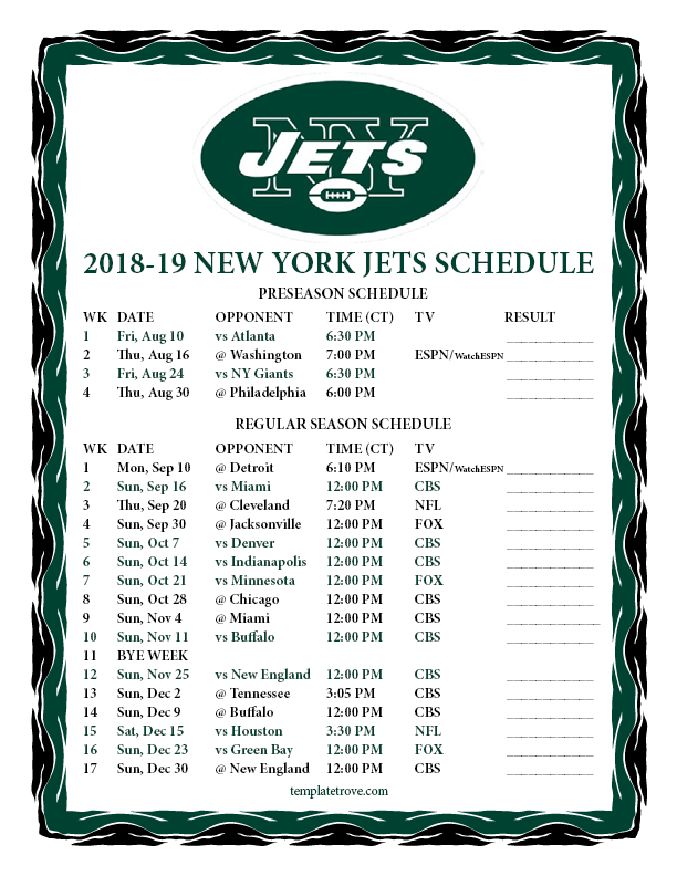 Printable 2018 2019 New York Jets Schedule