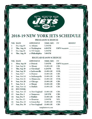 New York Jets 2018-19 Printable Schedule - Mountain Times