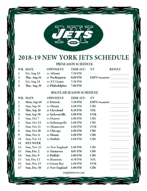 New York Jets 2018-19 Printable Schedule