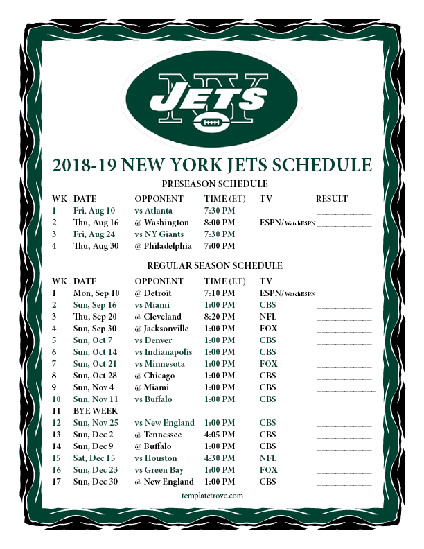 Ny Jets Schedule 2019 Printable 2018 2019 New York Jets Schedule