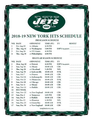 New York Jets 2018-19 Printable Schedule - Pacific Times