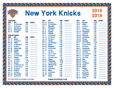 New York Knicks 2018-19 Printable Schedule - Pacific Times