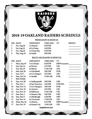 Oakland Raiders 2018-19 Printable Schedule - Mountain Times