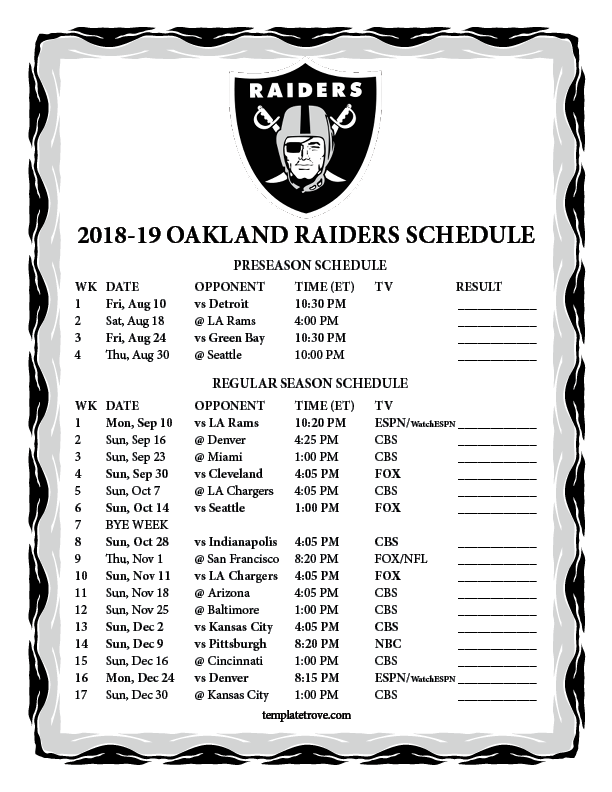 Printable 2018 2019 Oakland Raiders Schedule