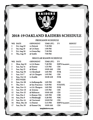 Oakland Raiders 2018-19 Printable Schedule - Pacific Times