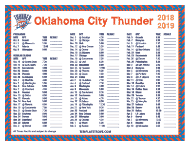 Oklahoma City Thunder 2018-19 Printable Schedule - Pacific Times