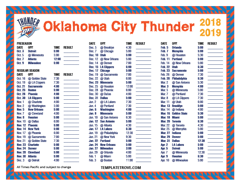 Terms Of Service Template >> Printable 2018-2019 Oklahoma City Thunder Schedule