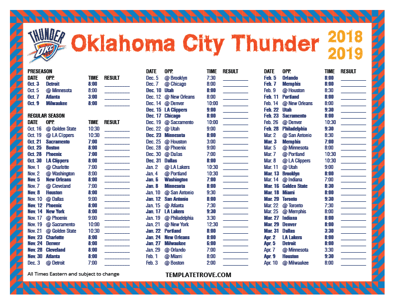 photograph regarding Okc Thunder Printable Schedule called Printable 2018-2019 Oklahoma Town Thunder Timetable