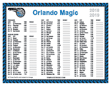 Orlando Magic 2018-19 Printable Schedule - Pacific Times