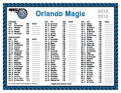 Printable 2018 2019 Orlando Magic Schedule