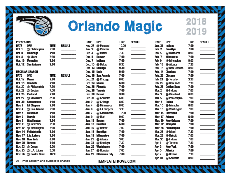 Magic Schedule 2019 Printable 2018 2019 Orlando Magic Schedule