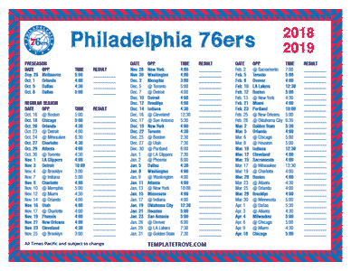 Philadelphia 76ers 2018-19 Printable Schedule - Pacific Times