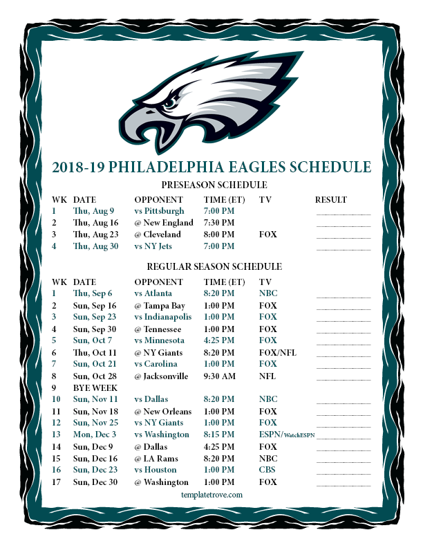 Philadelphia Eagles Calendar 2020 Printable 2018 2019 Philadelphia Eagles Schedule