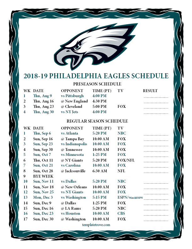 Remarkable image in printable eagles schedule