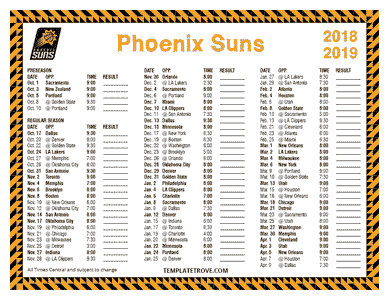 2018-19 Printable Phoenix Suns Schedule - Central Times