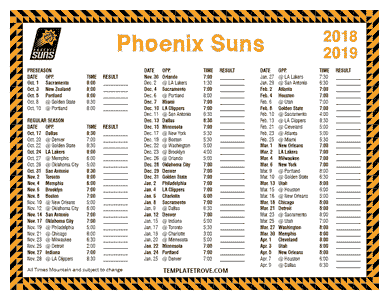 Phoenix Suns 2018-19 Printable Schedule - Mountain Times