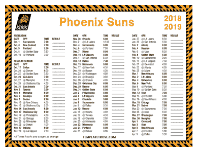 Phoenix Suns 2018-19 Printable Schedule - Pacific Times